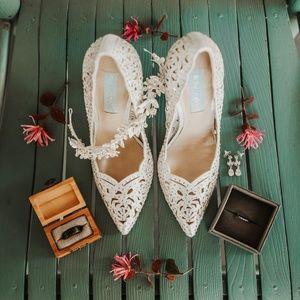 Betsey Johnson Emili Heels, Silver, Size 7
